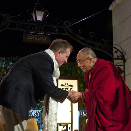Dr. Charles Raison with the Dalai Lama at a 2010 conference on compassion meditation. (Photo by Emory University)
